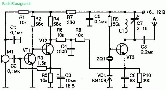 Радиопередатчик с узкополосной ЧМ 140—150 МГц (6-12В)