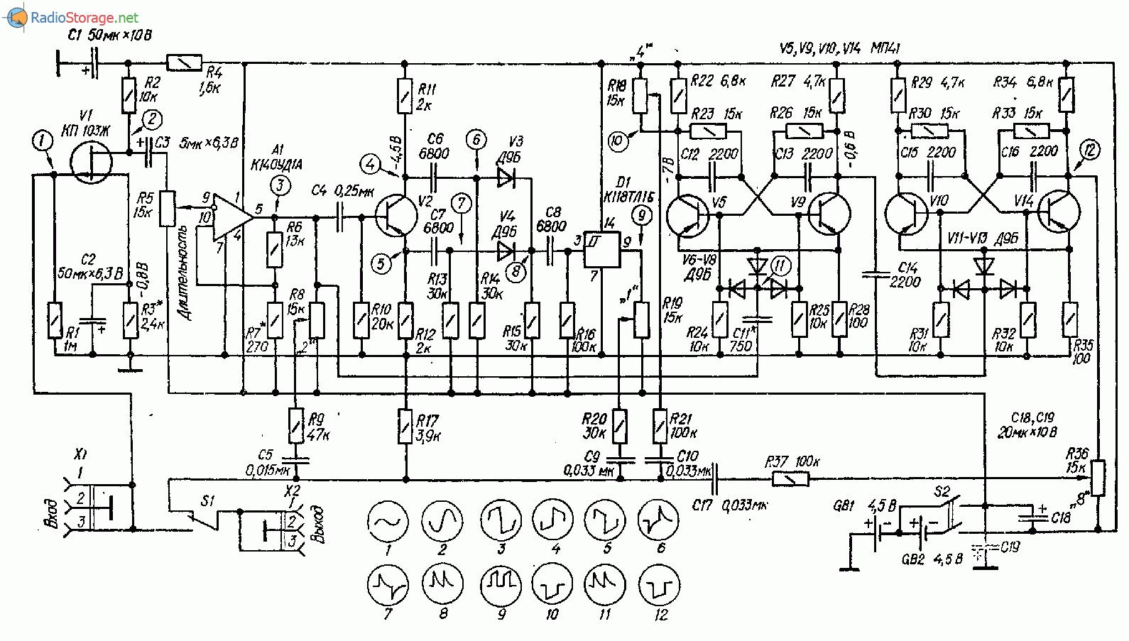 Схема преобразователя спектра для электрогитары
