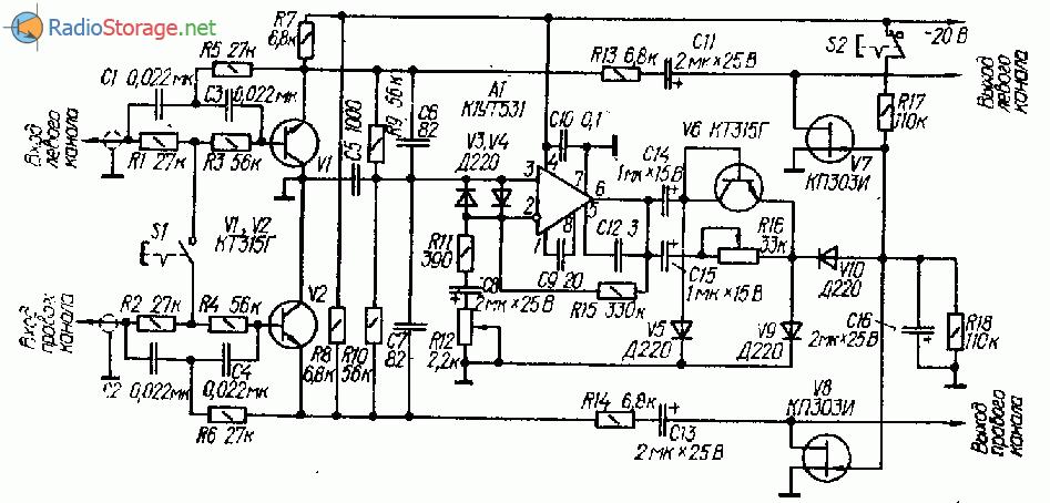 Двухканальный подавитель помех на транзисторах и ОУ
