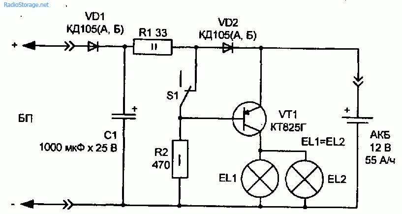 Простой источник резервного питания на основе транзисторе КТ825