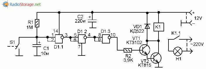 Принципиальная схема выключателя освещения для гаража