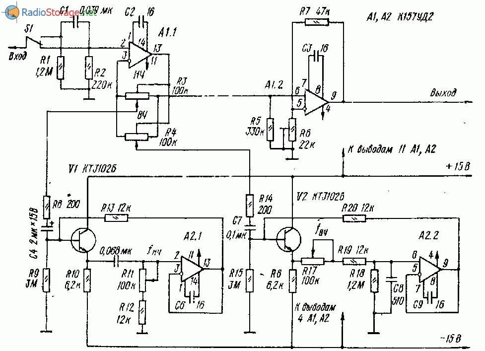 Параметрический регулятор тембра на ОУ и тарнзисторах (157УД2)