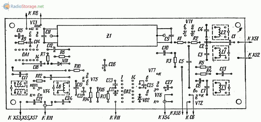 Печатная плата приемника (вид на компоненты)