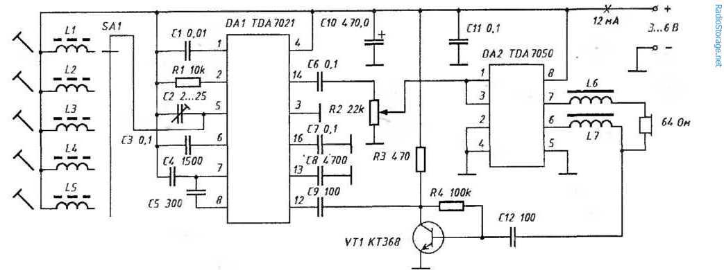 УКВ-приемник 65-108МГц (TDA7021)