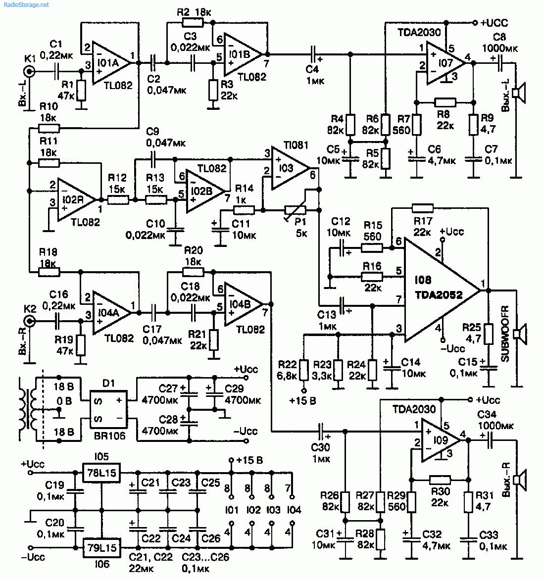 Мультимедийный УМЗЧ с сабвуфером 2 х TDA2030 + TDA2052