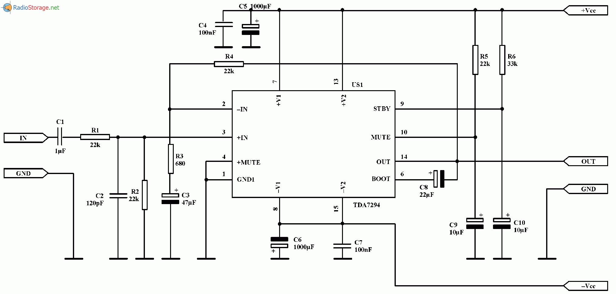 Мощный УНЧ на микросхемах TDA7294 (100 Вт), схема