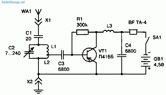 Электронная схема простого КВ приемника на одном транзисторе
