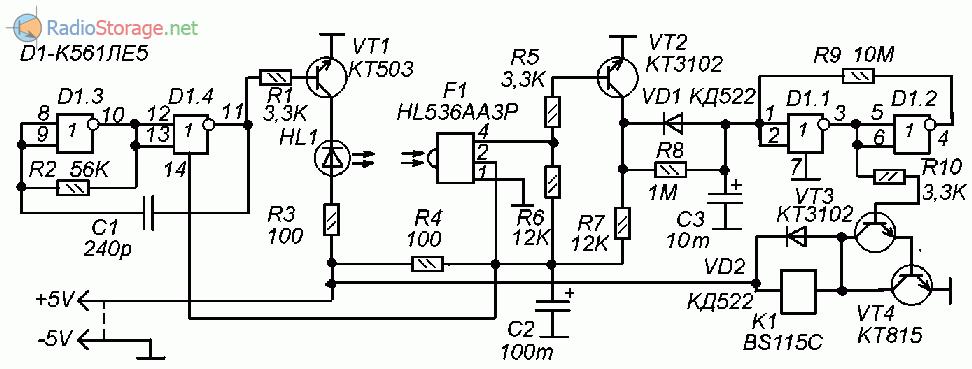 Схема инфракрасного датчика пересечения для автоматики (К561ЛЕ5, HL536AA3P)