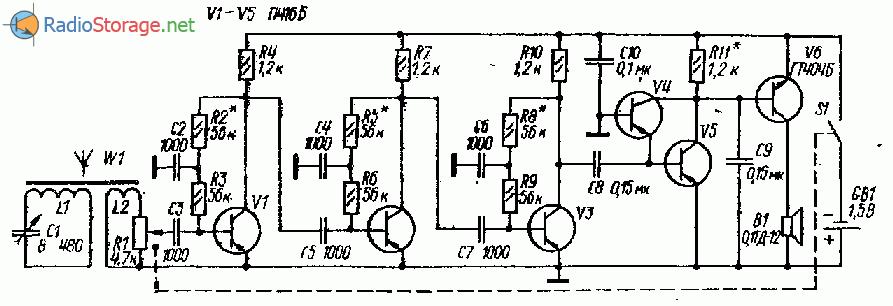 Схема радиоприемника с детектором на транзисторах (СВ, ДВ)