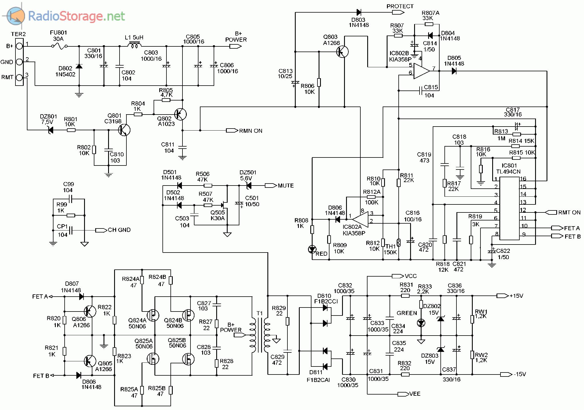 Принципиальная схема автомобильного усилителя SUPRA SGD-A2150 (часть 3)
