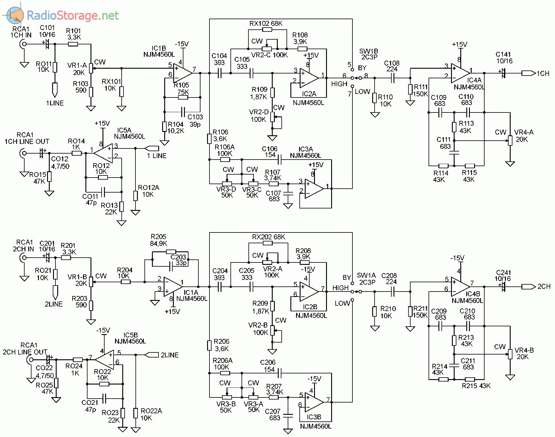 Принципиальная схема автомобильного усилителя SUPRA SGD-A2150 (часть 1)