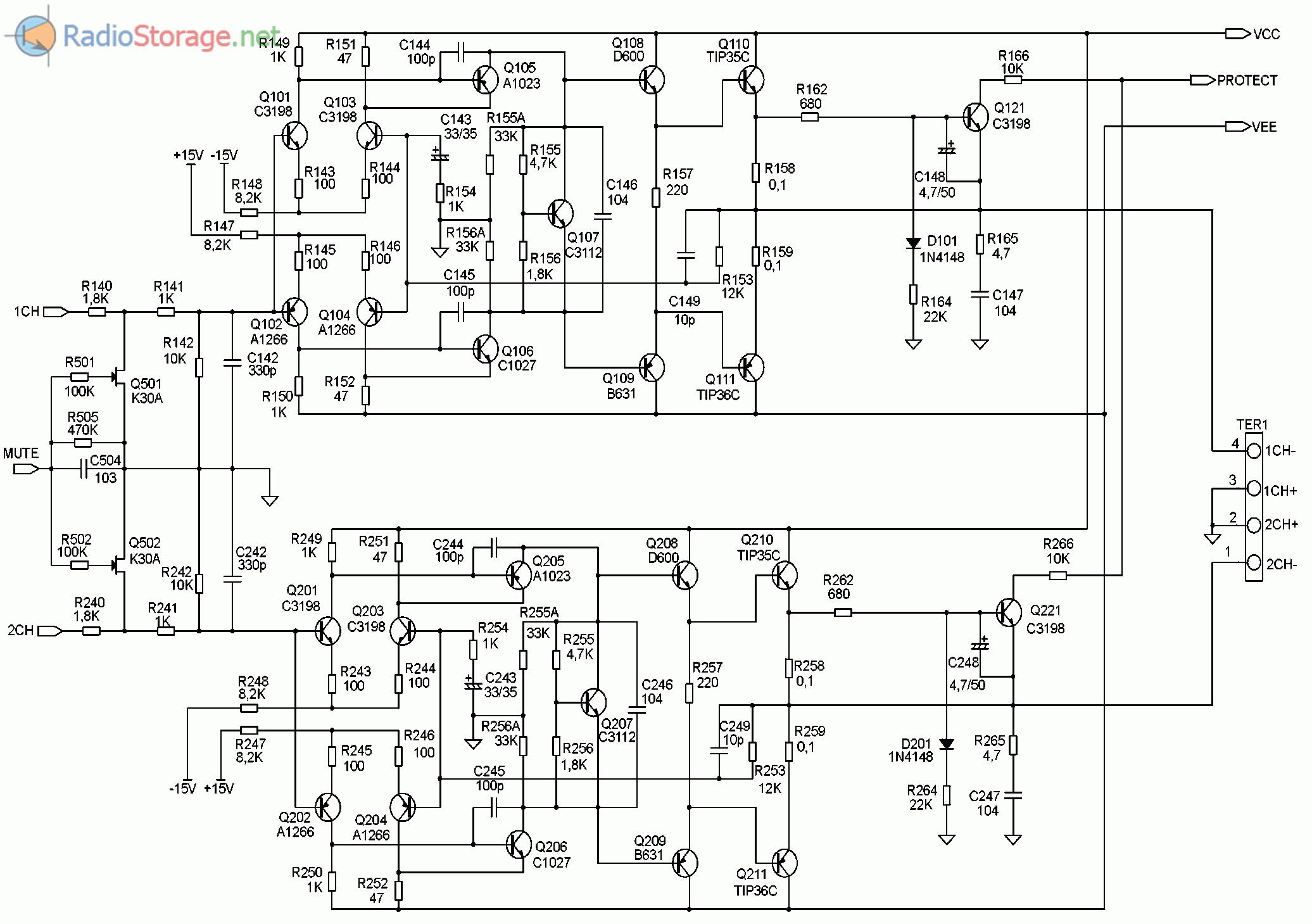 Принципиальная схема автомобильного усилителя SUPRA SGD-A2150 (часть 2)