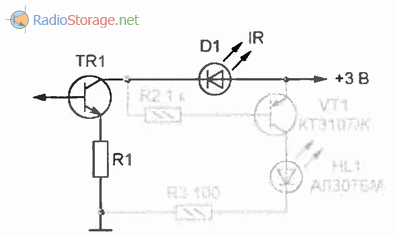 Светодиодный индикатор работы пульта дистанционного управления, схема