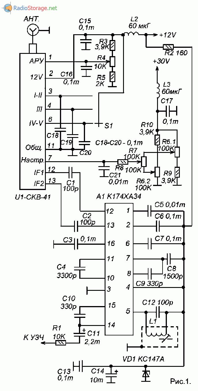 Принципиальная схема подключения модуля СКВ-41 для приема сигналов звукового сопровождения ТВ