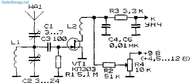 Схема простого приемника прямого усиления на транзисторах Приемники прямого усиления Сайт юного радиолюбителя