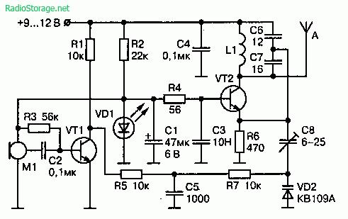 Радиопередатчик с ЧМ в УКВ диапазоне частот 61—73 МГц (9В, 20 мВт)