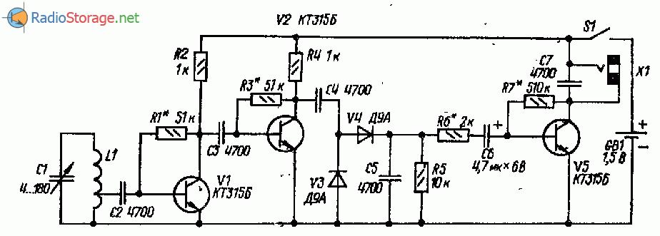 Приемник с рамочной антенной на трех транзисторах (СВ)