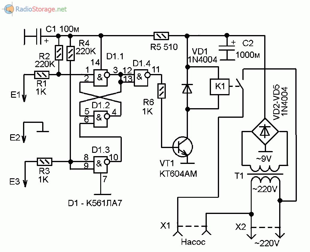 Принципиальная схема устройства автоматического управления водяным насосом
