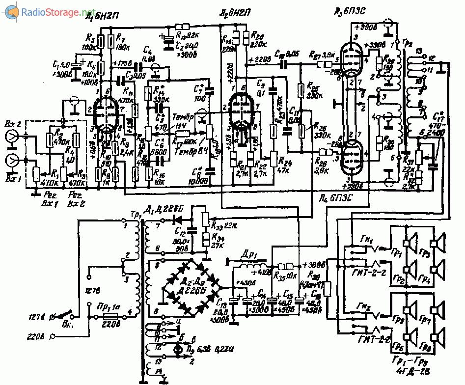 Ламповый усилитель ЗУ-430 (6Н2П, 6П3С), схема