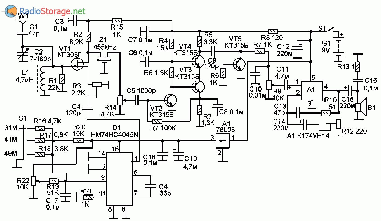 Схема самодельного КВ приемника на диапазоны 31м, 41м, 49