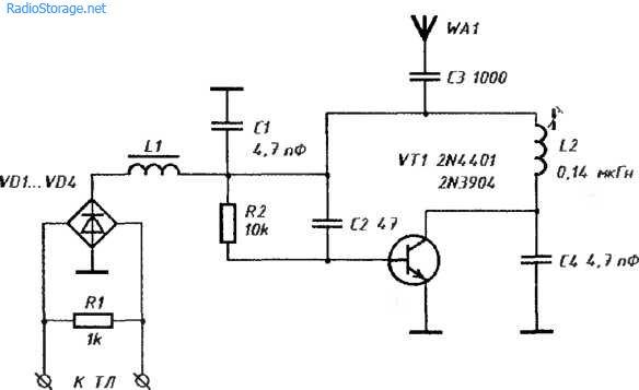 Схема простого телефонного жучка 88-108мГц