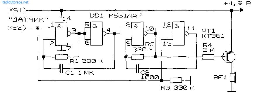 Схема многоголосого имитатора звуков