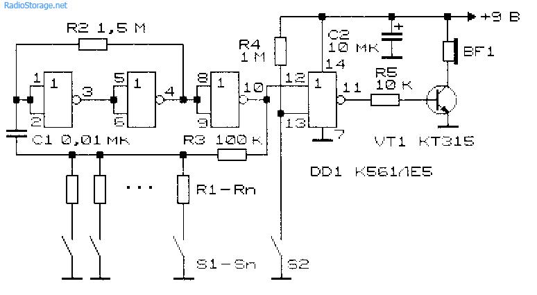 Схема электромузыкального инструмента на микросхеме