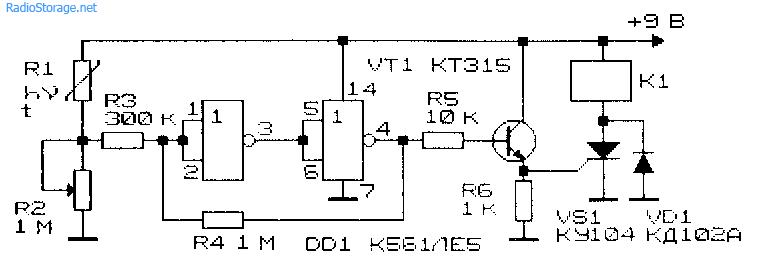 Схема фотореле, термореле