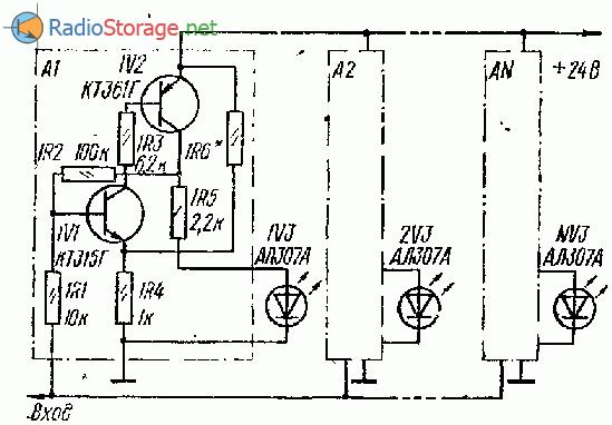 Пиковый индикатор мощности УНЧ на светодиодах