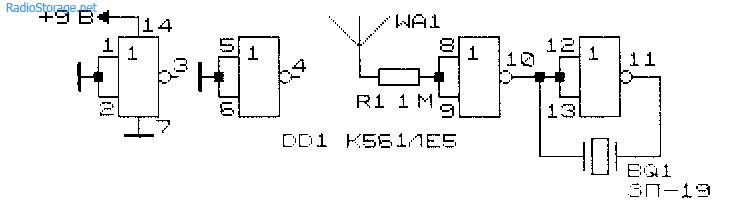 Схема искателя электропроводки