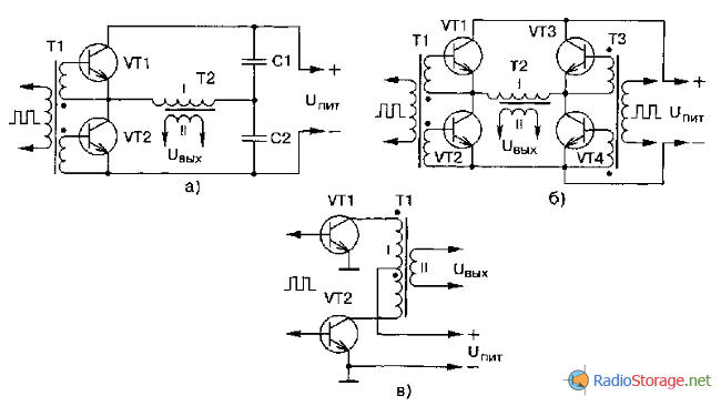Подключение выходных транзисторов к трансофрматору импульсного блока питания