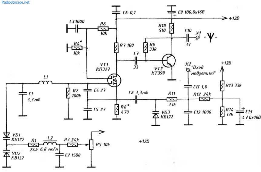 ЧМ-передатчик 80-150 МГц на двух транзисторах