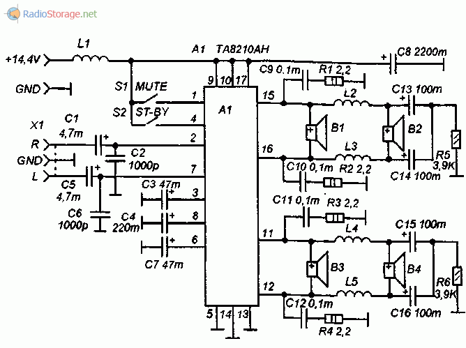 Принципиальная схема автомобильного УМЗЧ на микросхеме TA8210AH