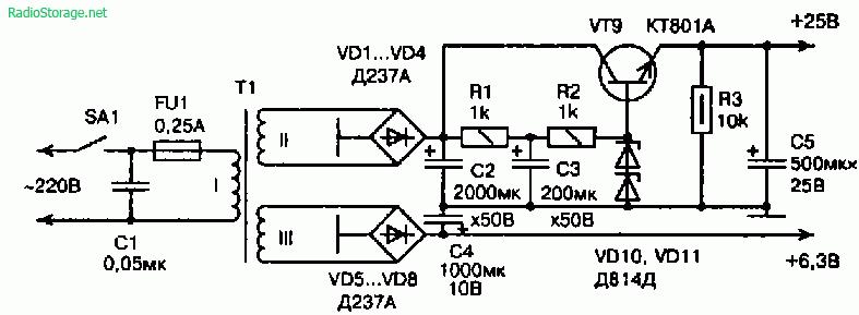 Схема гибридного усилителя (лампа+транзисторы) для стереонаушников
