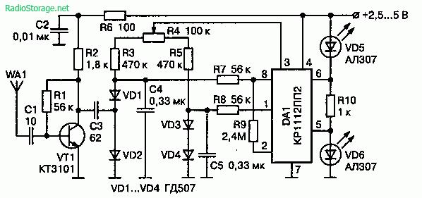 Схема простого детектора радиопередатчиков со светодиодной индикацией