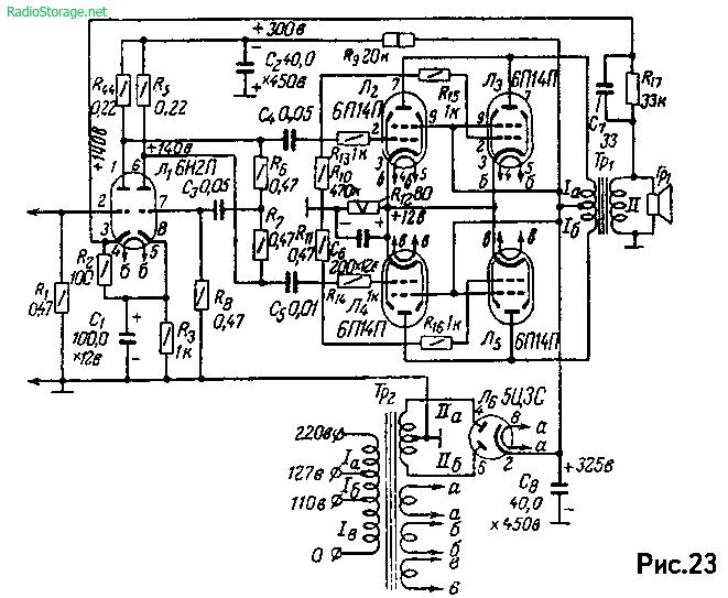 Ламповый усилитель на 6Н2П, 4х 6п14П