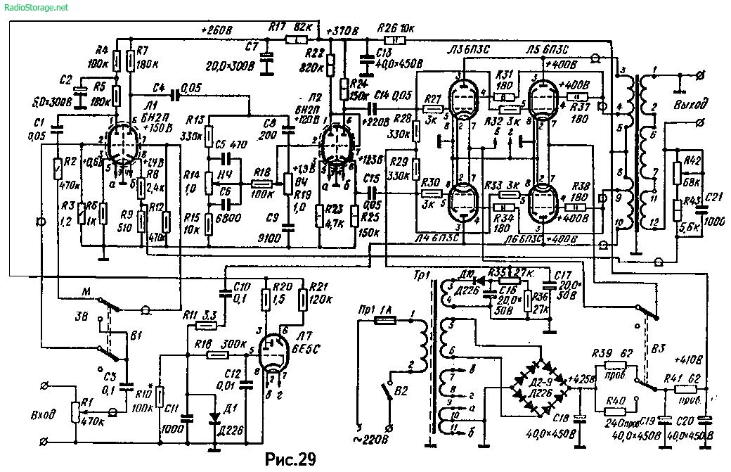 Схема лампового усилителя А. Баева на 6Н2П, 6П3С, 6Е5С (30-60Вт)