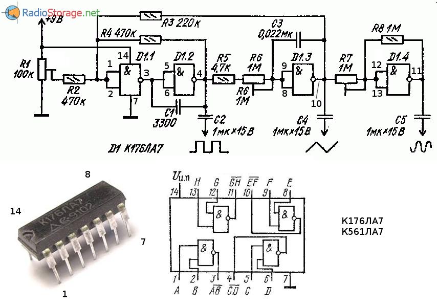 Функциональный генератор на микросхеме К176ЛА7