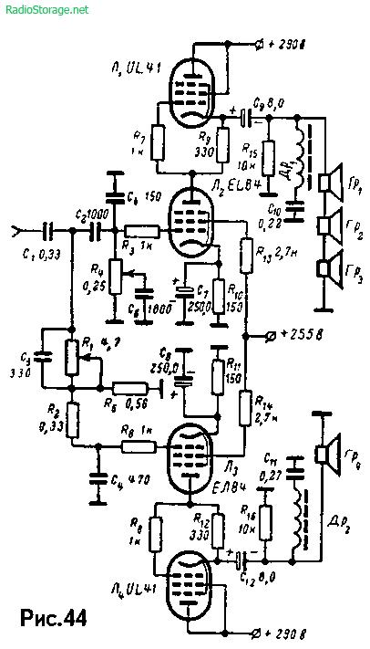 Двухканальный бестрансформаторный УМЗЧ Ф. Кюне на EL84, UL41