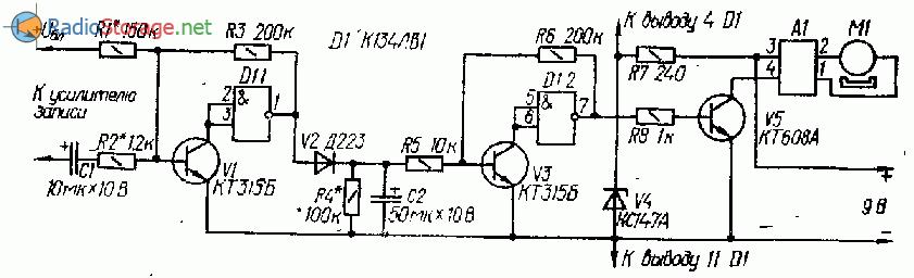 Схема автоматического запуска для магнитофона