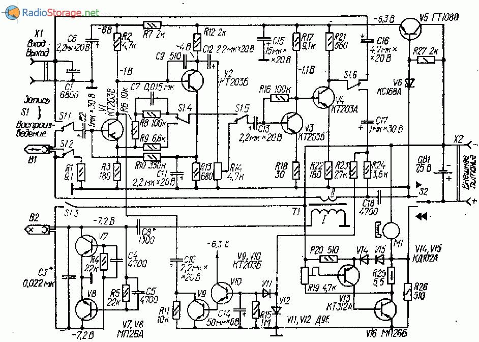 Кассетный диктофон на одиннадцати транзисторах