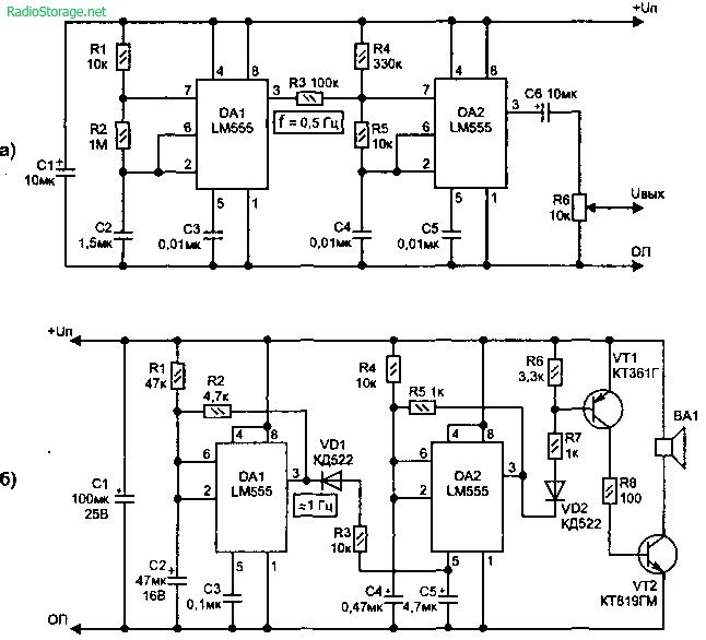 Схема двухтонального звукового генератора (LM555)