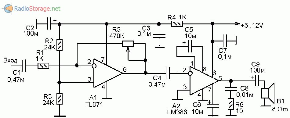 Схема УНЧ для применения с приемником прямого преобразования, выполнен на микросхемах TL071, LM386
