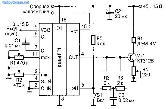Звуковой вольтметр (К564ГГ1)