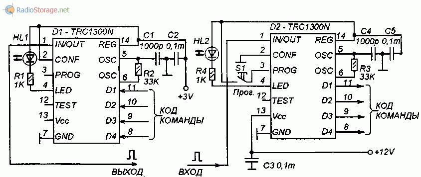 Схемы приемника и передатчика ИК-команд на TRC1300N