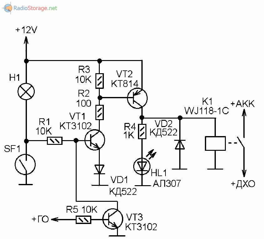 Схема автомата включения ДХО в автомобиле