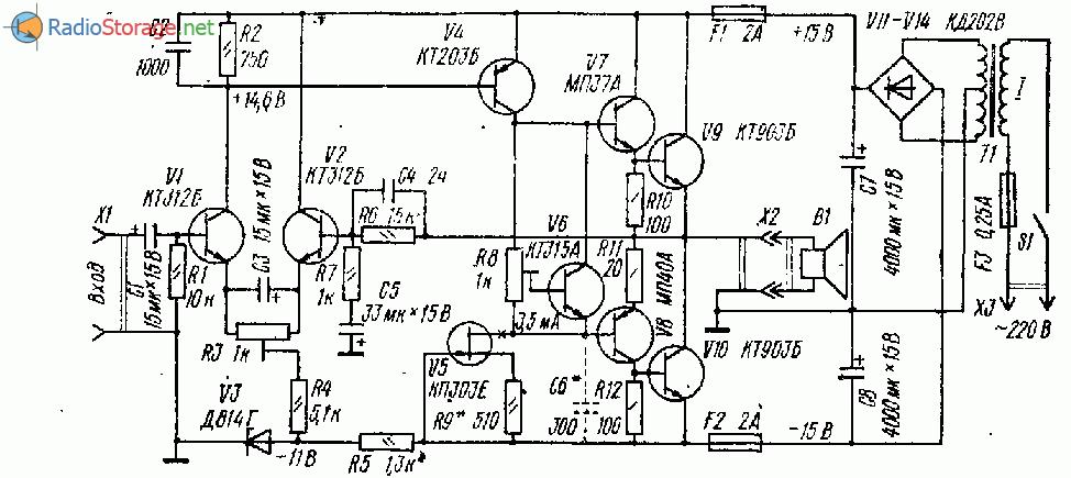 Простой УМЗЧ на девяти транзисторах (20Вт)