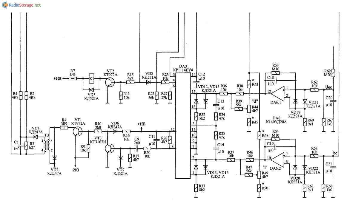 Зарядно-пусковое устройство-автомат для автомобильного аккумулятора 12В, схема