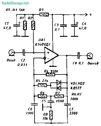 Схема простого гитарного компрессора на К140УД7
