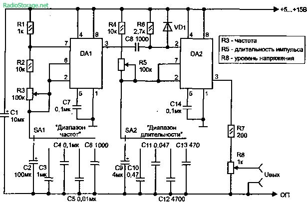 Измерительный генератор прямоугольных импульсов 71 кГц до 0,71 Гц